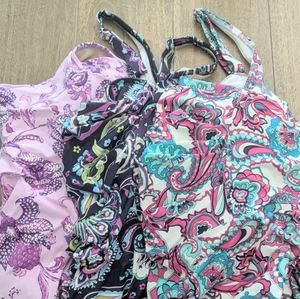 Set of 3 Land's End Plus Size Floral Tankinis 24W